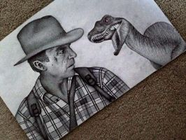 Dr. Grant w/ raptor behind him- Jurassic Park3 by hopewatson