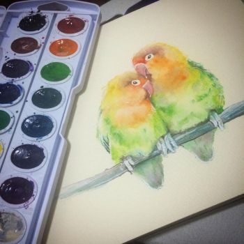 Watercolor study of birds by lefemmeartiste