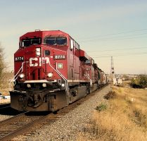 CP Westbound Grain Train by MrConductor