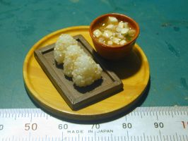 1:6 miniature MIsosoup and Rice balls by yayoyamber