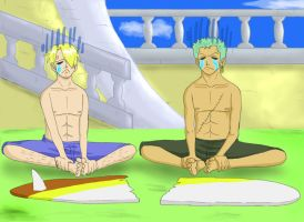 Sanji and Zoro's crying by wallabby