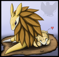 Sandslash and Sandshrew by shorty-antics-27
