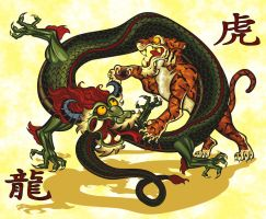 chinese tiger and dragon by kevans2