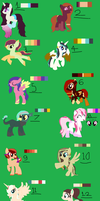 Huge sheet of pony adopts by CorcraMoonRaes