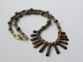 Tigereye, Malachite and Brass Necklace by bibliophile20