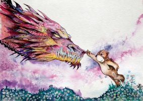 Dragons and Teddy Bears Watercolor By DW Miller by ConceptsByMiller