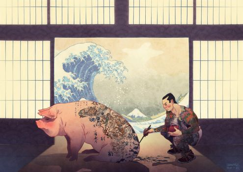 Japanese with Pig and Wave by JaimePosadas