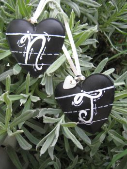 Tin hearts painted with blackboard paint 2 by KymeraKirsty