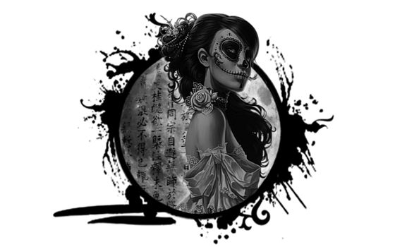 GFX | Anime | Woman | Black and White | Moon by Shikarih