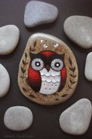 Bright red owl with white moths by JillHoffman
