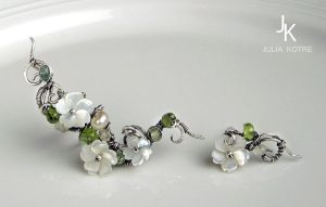 Floral silver ear cuff with stud by JSjewelry