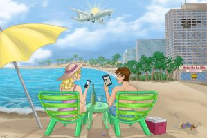 CopyTele Commission Colored - Couple at a Resort by EmilyCammisa