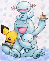 Much Love: Wooper and Pichu by Leafye