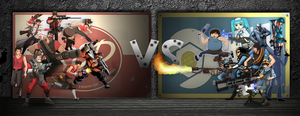 Team Fortress 2: Red VS Blue Collab by amkamaradimelch