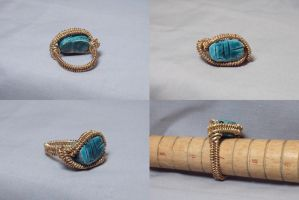 Egyptian good luck stone ring by ACrowsCollection