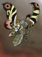 MOTHRA vs. KUMONGA colored by aaronjohngregory
