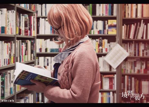 Megane no Bishoujo in a library by R0ll