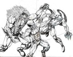 Wolverine vs. Sabertooth and Ripclaw WIP by jey2dworld