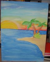 Tropical Scene Painted by KM-cowgirl