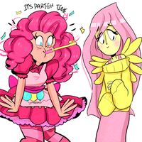 pinkie pie and fluttershy by cam070