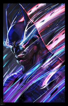 Batman in the teleportation process by Bohy