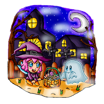 Halloween night with kirby and ribbon by ninpeachlover