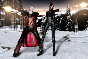 Dante and Bayonetta by FearEffectInferno