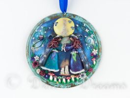 Witch's Circle Witch Art Pendant by DeidreDreams