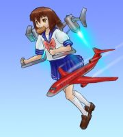 Misao has a jetpack by AlloyRabbit