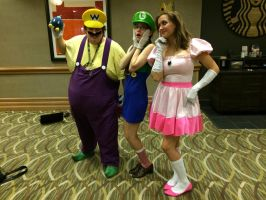 Luigi and Peach meet Wario by kakashimetaknight915