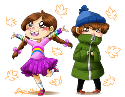 Young Mabel and Dipper by HezuNeutral