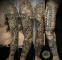 angel devil fight beer judge by 2Face-Tattoo