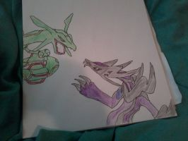 Zidhoggon vs Rayquaza (in color) by blackkyurem2