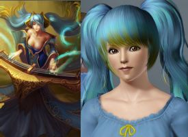 The Sims3 vs. League of Legends: Sona by chiko-san