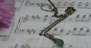 Green drop Necklace SALE by artistiquejewelry