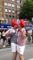 Pride Couple in Stripes kiss by DarkMysteryCat