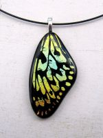 Butterfly Wing Necklace Wood Nymph Pattern by FusedElegance