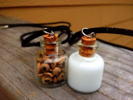 Milk and Cookies Necklace Set by SteamPixy
