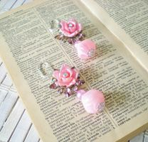 Pink Bejeweled Flower Earrings by RetroRevivalBoutique