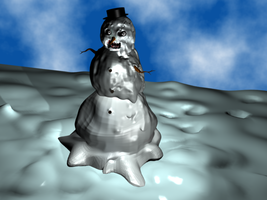 Evil startin to melt Snowman by evan3585