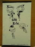 Zim and Dib doodles by Invader--ZIM