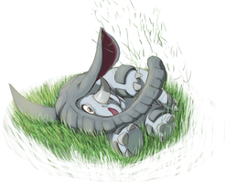 Donphan rollan in grass by Hellonaut