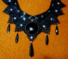 Black tears bib lace necklace by AniDandelion
