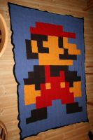Knitted Mario blacket by LARvonCL