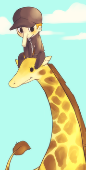 kaku and a giraffe and the sky by 021
