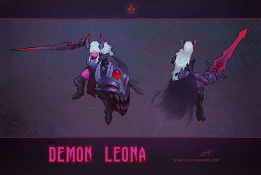 LoL skin concept: Demon Leona by Shockowaffel