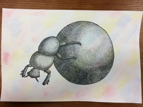 Pointilliism Dung Beetle by Origami1105