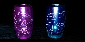 Reshiram and Zekrom coloured high orbit glass by PokeEtch