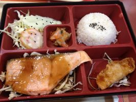 Japanese Grilled Salmon with Rice by nosugarjustanger