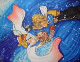 Yuna and Tidus -Commision- by sirenlovesyou